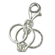 Sterling Silver clip on Three rings charm